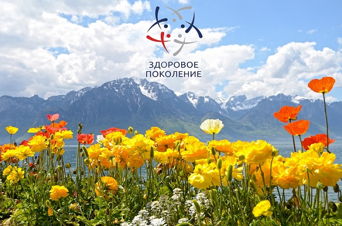 Flowers against mountains and lake Geneva from the Embankment in Montreux. Switzerland